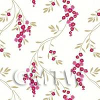 Dolls House Miniature Hanging Red Flower Wallpaper