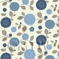 Dolls House Miniature Mixed Blue Flower Wallpaper