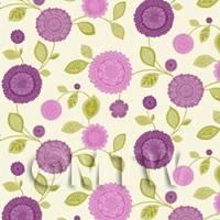 Dolls House Miniature Mixed Purple Flower Wallpaper
