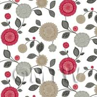 Dolls House Miniature Mixed Red And Beige Flower Wallpaper