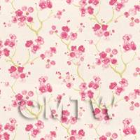 Pack of 5 Dolls House Pink Blossom Wallpaper Sheets