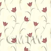 Dolls House Miniature Deep Red Flower And Stem Wallpaper