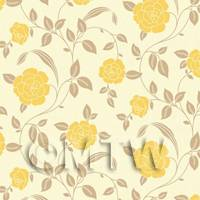 Dolls House Miniature Yellow Roses Wallpaper