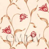 Dolls House Miniature Climbing Pale Red Flower Wallpaper