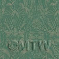 Dolls House Miniature - Dolls House Miniature Intricate Pale Gold On Green Wallpaper