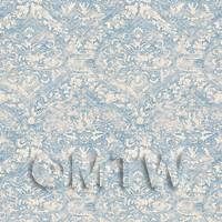 Dolls House Miniature Intricate Old Blue Pattern Wallpaper