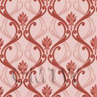 Dolls House Miniature Red Classic Wallpaper Design