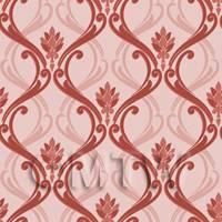 Dolls House Miniature Red Classic Wallpaper Design