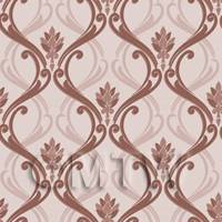 1/12th scale - Dolls House Miniature Chocolate Classic Wallpaper Design