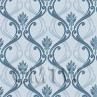 Dolls House Miniature Ink Blue Classic Wallpaper Design