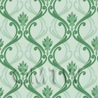 Dolls House Miniature Green Classic Wallpaper Design
