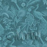 Dolls House Miniature Peacock On Teal Wallpaper