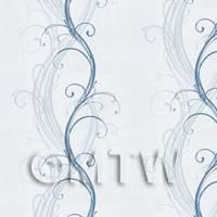 Dolls House Miniature Pale Blue Elegant Swirls Wallpaper