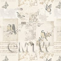 Pack of 5 Dolls House Pale Beige Birds And Butterfly Wallpaper Sheets
