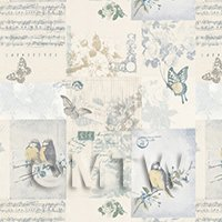 Pack of 5 Dolls House Pale Blue Birds And Butterfly Wallpaper Sheets