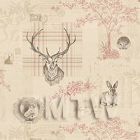 Pack of 5 Dolls House Beige And Red Highland Animal Wallpaper Sheets
