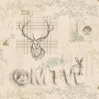 Pack of 5 Dolls House Beige And Green Highland Animal Wallpaper Sheets