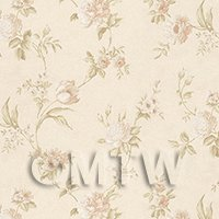 Dolls House Miniature Mixed Pale Pink Flowers On Pale Beige Wallpaper