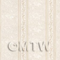 Dolls House Miniature Ornate Pale Beige Striped Wallpaper