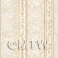 Pack of 5 Dolls House Ornate Light Brown Striped Wallpaper Sheets