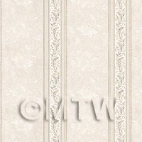 Pack of 5 Dolls House Ornate Pale Beige And Grey Striped Wallpaper Sheets