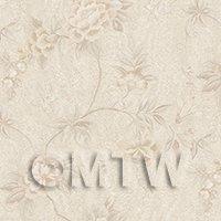 Dolls House Miniature Pale Cream Trailing Flower Design Wallpaper