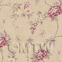 Pack of 5 Dolls House Dark Pink Trailing Flower Design Wallpaper Sheets