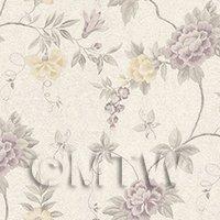 Dolls House Miniature Pale Purple Trailing Flower Design Wallpaper
