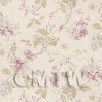 Pack of 5 Dolls House Pale Violet Mixed Flower Design Wallpaper Sheets