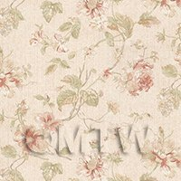 Pack of 5 Dolls House Dark Pink Mixed Flower Design Wallpaper Sheets