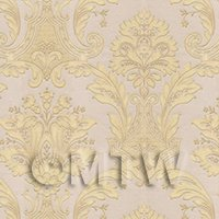 Dolls House Miniature Gold Damask Style Wallpaper