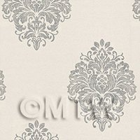 Dolls House Miniature Grey Floral Diamond On Cream Wallpaper