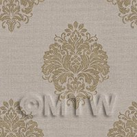 Dolls House Miniature Gold Floral Diamond On Beige Wallpaper