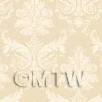 Dolls House Miniature Cream On Beige Leaf Damask Wallpaper