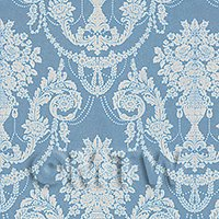 Dolls House Miniature Duck Egg Blue Chandelier Damask Wallpaper