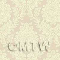 Dolls House Miniature Pale Rose Floral Damask Wallpaper