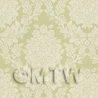 Dolls House Miniature Pale Sage Floral Damask Wallpaper