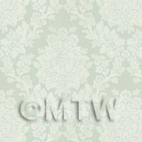 Dolls House Miniature Pale Green Floral Damask Wallpaper