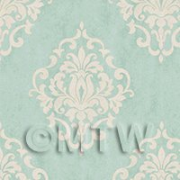 Pack of 5 Dolls House Duck Egg Blue Floral Diamond Wallpaper Sheets