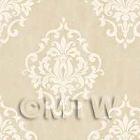 1/12th scale - Dolls House Miniature Beige Floral Diamond Wallpaper