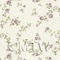 Dolls House Miniature Small Trailing Violet Rose Wallpaper