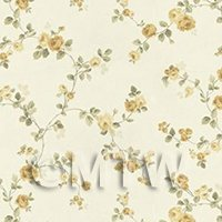 Dolls House Miniature Small Trailing Yellow Rose Wallpaper