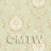Dolls House Mixed Colour Damask Flower On Green Wallpaper