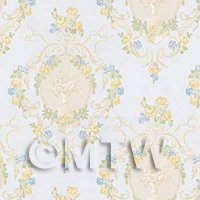 Dolls House Mixed Colour Damask Flower On Pale Blue Wallpaper