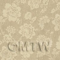 Dolls House Beige Floral Pattern On Fabric Style Print Wallpaper