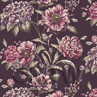 Dolls House Violet And Mauve Mixed Flowers on Purple Wallpaper