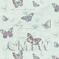 Pack of 5 Dolls House Butterflys On Pale Blue Wallpaper Sheets