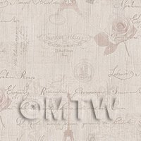 Dolls House Miniature - Pack of 5 Dolls House Pale Red Vintage French Themed Wallpaper Sheets