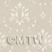 Dolls House Miniature Large Leafy White On Grey Damask Wallpaper