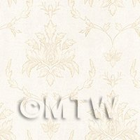 Dolls House Miniature Large Leafy Pale Yellow On White Damask Wallpaper